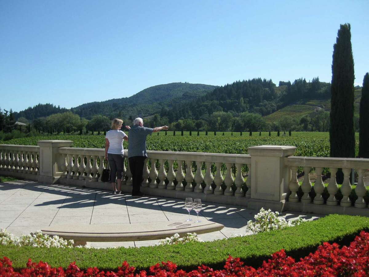 Views and blooms accent a visit to Ferrari-Carano Vineyard & Winery.