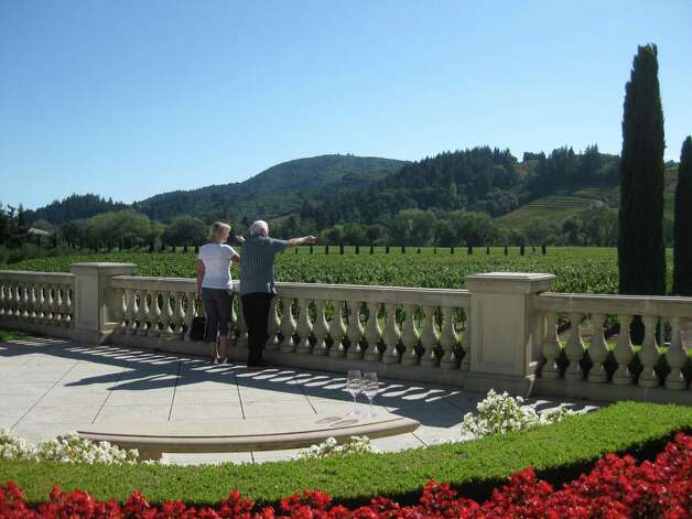 Views and blooms accent a visit to Ferrari-Carano Vineyard & Winery. Photo: Kathleen Scott For The Express-News.