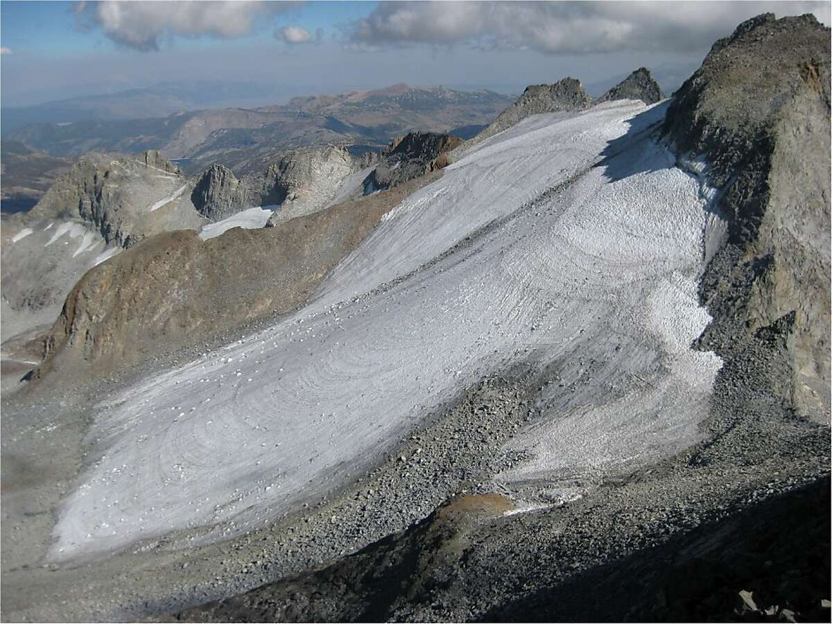 Mount Lyell and the Lyell Glacier are seen from nearby Mount Maclure.