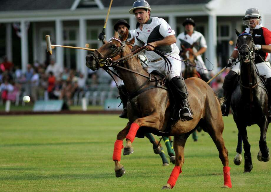 Buckleigh Farm polo team leads the charge that results in a score on opening day of the Saratoga Polo Association 2012 season on Friday, July 6, 2012, in Greenfield Center, N.Y. (Cindy Schultz / Times Union archive) Photo: Cindy Schultz / 00018304A