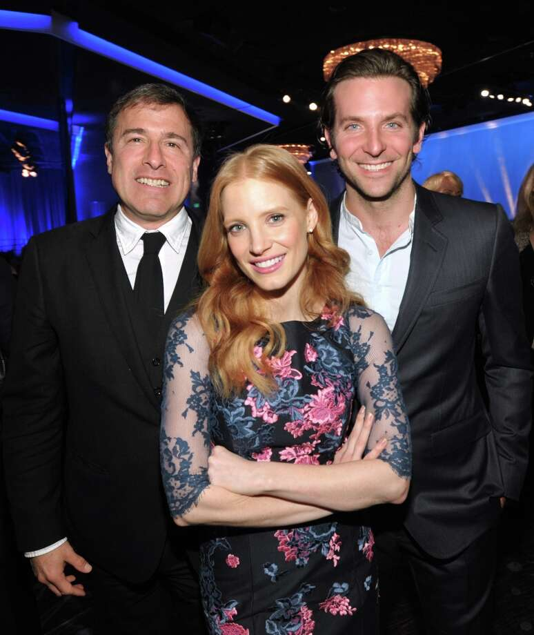David O. Russell, nominated for best director and best adapted screenplay for Silver Linings Playbook, Jessica Chastain, nominated for actress in a leading role for Zero Dark Thirty, and Bradley Cooper, nominated for actor in a leading role for Silver Linings Playbook, attend the 85th Academy Awards Nominees Luncheon at the Beverly Hilton Hotel on Monday, Feb. 4, 2013, in Beverly Hills, Calif. (Photo by John Shearer/Invision/AP) Photo: John Shearer, Associated Press / Invision