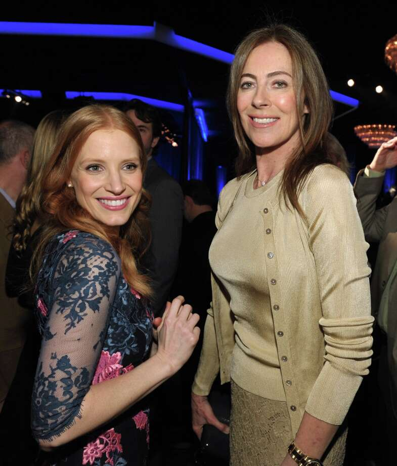 Jessica Chastain, left, nominated for best actress in a leading role and Kathryn Bigelow, nominated for best picture, for Zero Dark Thirty, attend the 85th Academy Awards Nominees Luncheon at the Beverly Hilton Hotel on Monday, Feb. 4, 2013, in Beverly Hills, Calif. (Photo by John Shearer/Invision/AP) Photo: John Shearer, Associated Press / Invision