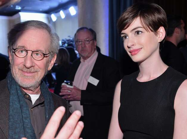 BEVERLY HILLS, CA - FEBRUARY 04:  Director Steven Spielberg (L) and actress actress Anne Hathaway attend the 85th Academy Awards Nominations Luncheon at The Beverly Hilton Hotel on February 4, 2013 in Beverly Hills, California. Photo: Alberto E. Rodriguez, Getty Images / 2013 Getty Images