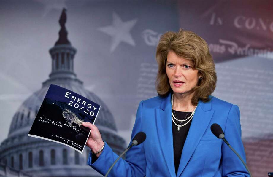 "Sen. Lisa Murkowski of Alaska, the top ranking Republican on the Senate Committee on Energy and Natural Resources, speaks to reporters about her blueprint for U.S. energy policy, titled ""Energy 20/20,"" at the Capitol in Washington, Monday, Feb. 4, 2013.  (AP Photo/J. Scott Applewhite) Photo: J. Scott Applewhite, STF / AP"