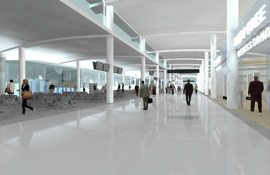 This artist's rendering shows a new Hobby Airport concourse that would have five gates that could handle midsize aircraft. Photo: Corgan Associates