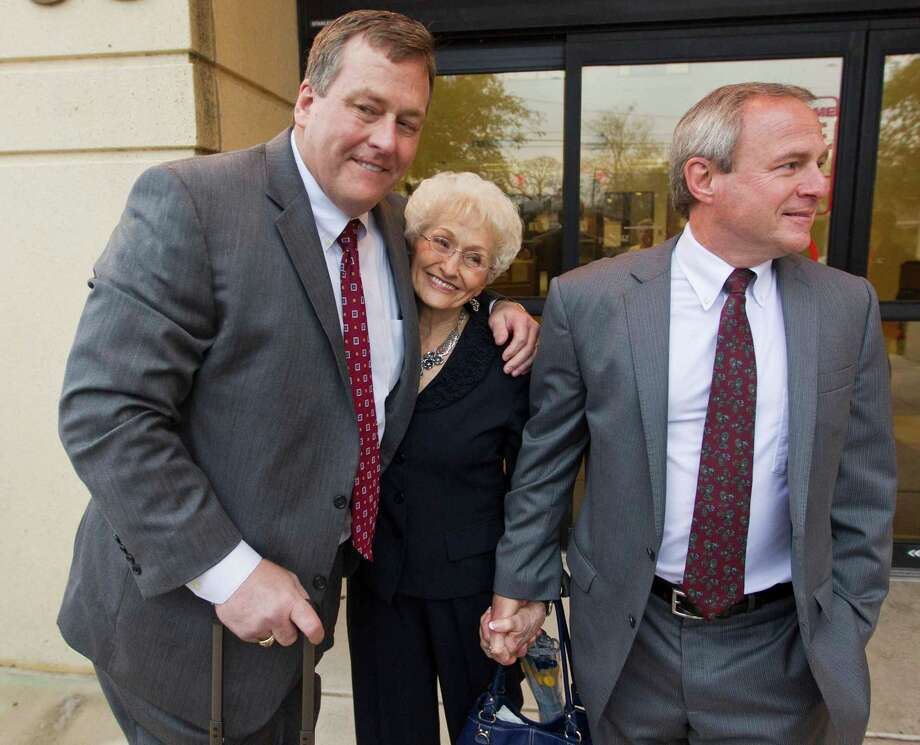Attorney John W. Raley hugs Patricia Morton, the mother of Michael Morton, right, before entering the court on the first day of the court of inquiry in Austin. Photo: Ricardo B. Brazziell, MBO / Statesman.com