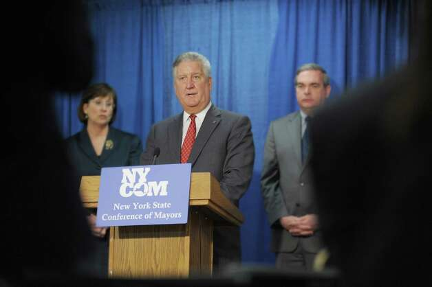 Albany Mayor Jerry Jennings addresses those gathered for a press conference given by the Conference of Mayors at the Legislative Office Building on Monday, Feb. 4, 2013 in Albany, NY.  The mayors held the press event to express their support for Governor Cuomo's binding arbitration reform proposal.  (Paul Buckowski / Times Union) Photo: Paul Buckowski