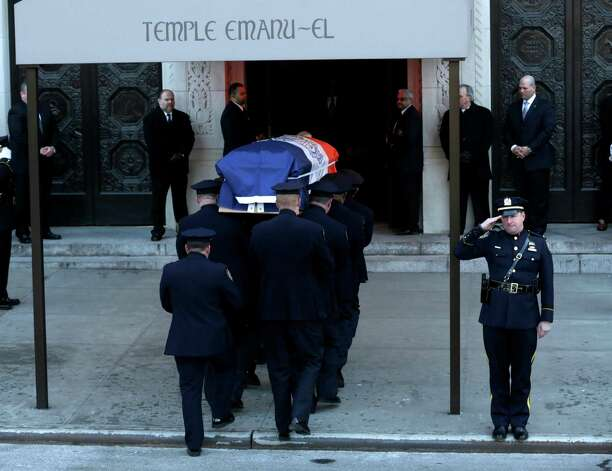 The casket containing the body of former New York City Mayor Ed Koch is brought into Temple Emanu-El for his funeral in New York, Monday, Feb. 4, 2013.  Koch died Friday of congestive heart failure at age 88.  (AP Photo/Seth Wenig) Photo: Seth Wenig