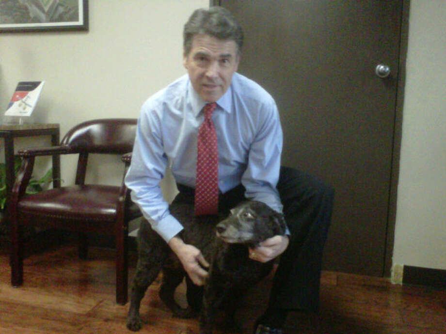 South Carolina dogs got love from the governor when he visited in December as well. Perry is posing with Dixie, a Boykin Spaniel - the state dog of South Carolina.