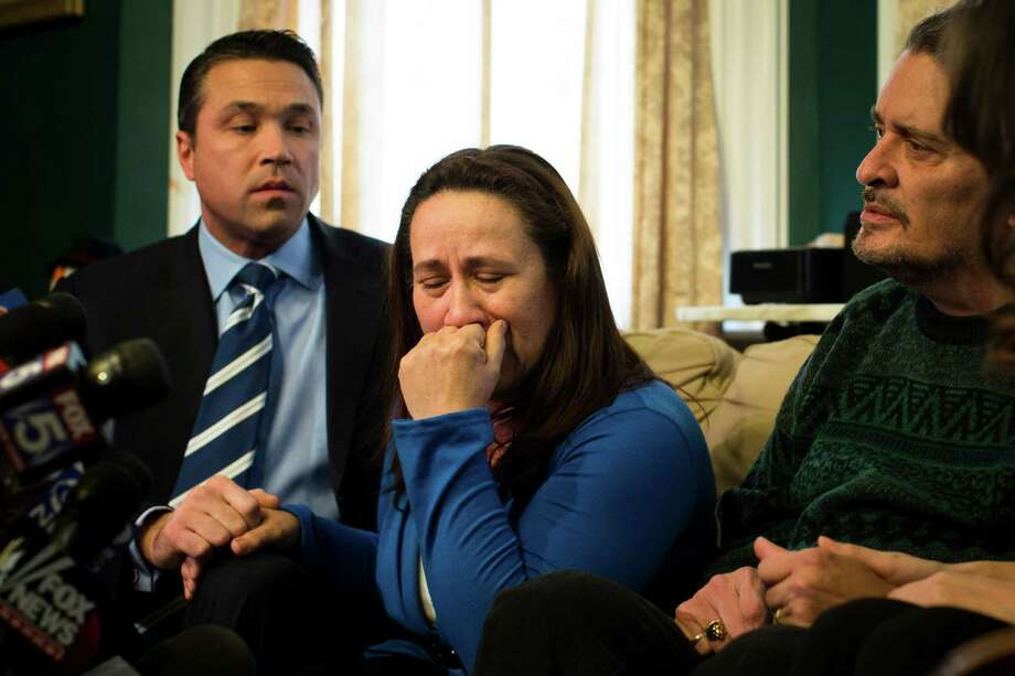 Betzaida Jimenez, mother of 33-year-old Sarai Sierra who was found dead on Saturday in Turkey, pauses before a news conference at a friend's home in Staten Island, Monday, Feb. 4, 2013, in New York. Sierra went missing while vacationing alone in Istanbul on Jan. 21, the day she was due to board her flight back home.   (AP Photo/John Minchillo) Photo: John Minchillo