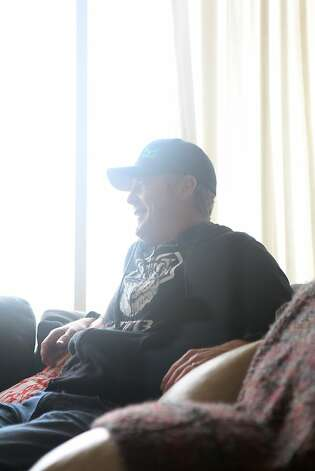 Bobby McMullen reacts during an interview with a journalist at his house in Mill Valley. McMullen is an avid and accomplished skier, mountain biker, and road cyclist who is also blind. Photo: Pete Kiehart, The San Francisco Chronicle