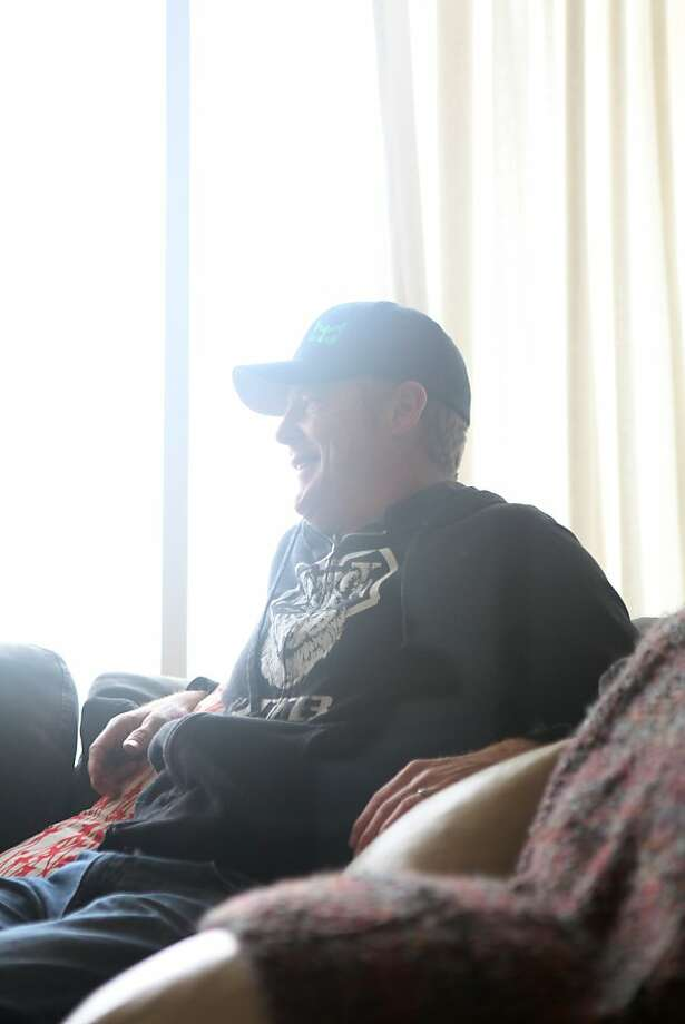 Bobby McMullen reacts during an interview with a journalist at his house on January 24, 2013 in Mill Valley, Calif. McMullen is an avid and accomplished skier, mountain biker, and road cyclist who is also blind. Photo: Pete Kiehart, The San Francisco Chronicle