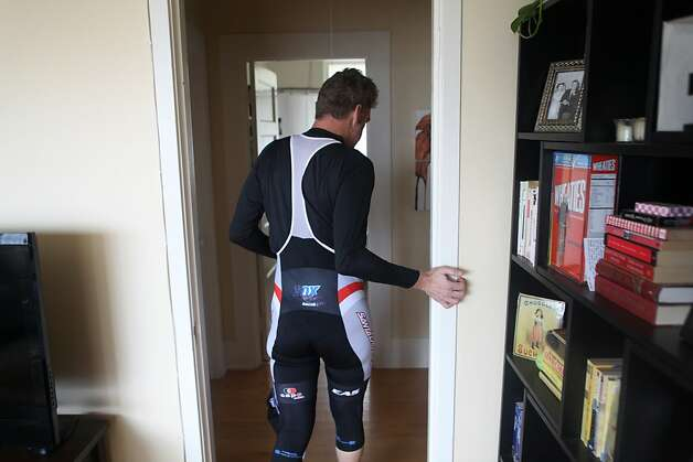 Bobby McMullen uses a door frame to guide himself in his house after a bike ride on January 24, 2013 in Mill Valley, Calif. McMullen is an avid and accomplished skier, mountain biker, and road cyclist who is also blind. Photo: Pete Kiehart, The San Francisco Chronicle