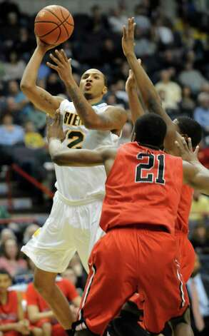 Siena's Rakeem Brookins goes up for a basket during a basketball game against Fairfield at the Times Union Center on Monday Feb. 4, 2013 in Albany, N.Y. (Lori Van Buren / Times Union) Photo: Lori Van Buren