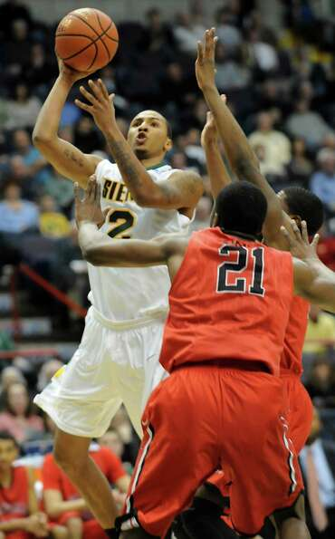Siena's Rakeem Brookins goes up for a basket during a basketball game against Fairfield at the Times