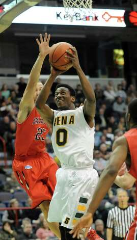 Siena's Rich Audu drives to the basket during a basketball game against Fairfield at the Times Union Center on Monday Feb. 4, 2013 in Albany, N.Y. (Lori Van Buren / Times Union) Photo: Lori Van Buren
