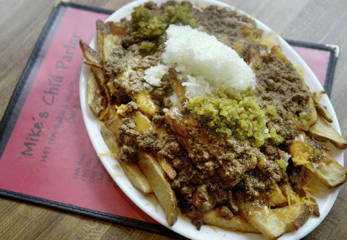 A large chili fries displayed at Mike's Chili Parlor, in Ballard, on Nov. 3, 2005.