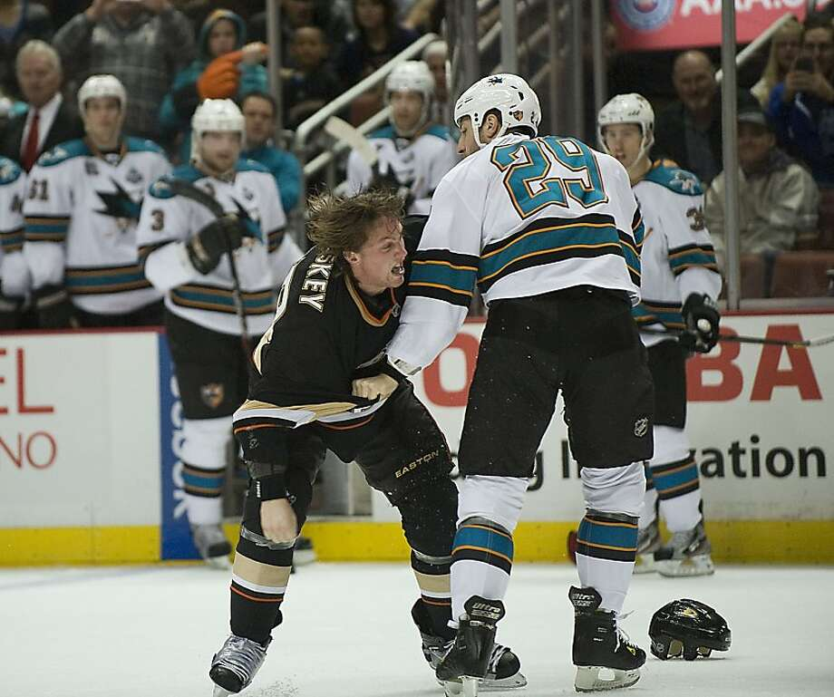 Anaheim Ducks' Matt Beleskey and San Jose Sharks' Ryane Clowe fight during the first period in Anaheim, California, Monday, February 4, 2013. (Rose Palmisano/Orange County Register.MCT) Photo: Rose Palmisano,, McClatchy-Tribune News Service