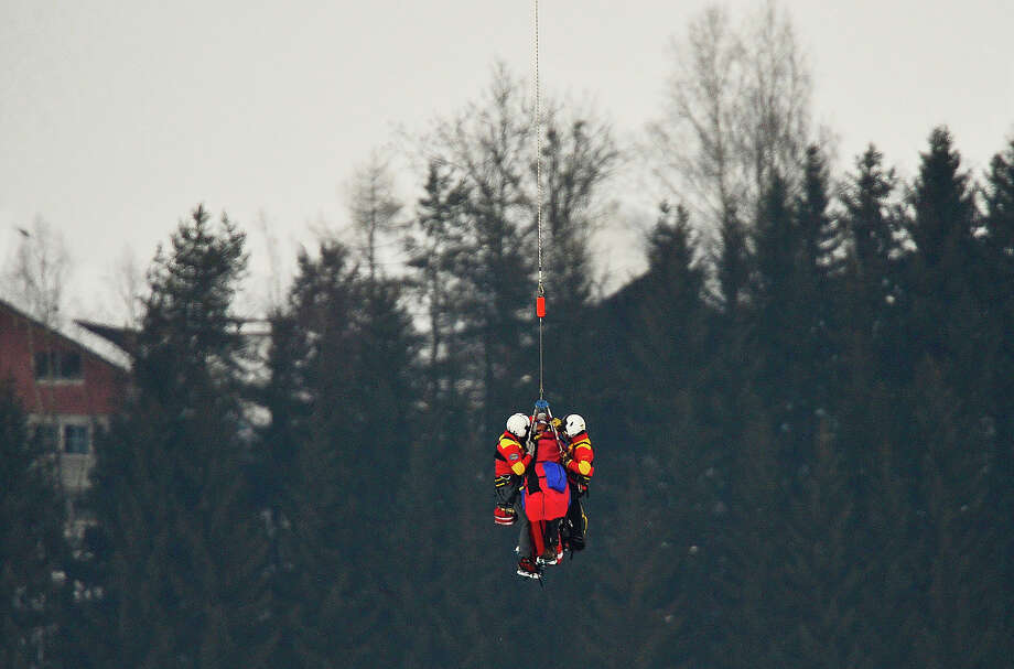 USA Lindsey Vonn is transported by helicopter after a fall during the women's Super-G event of the 2013 Ski World Championships in Schladming, Austria on February 5, 2013. Photo: FABRICE COFFRINI, AFP/Getty Images / 2013 AFP