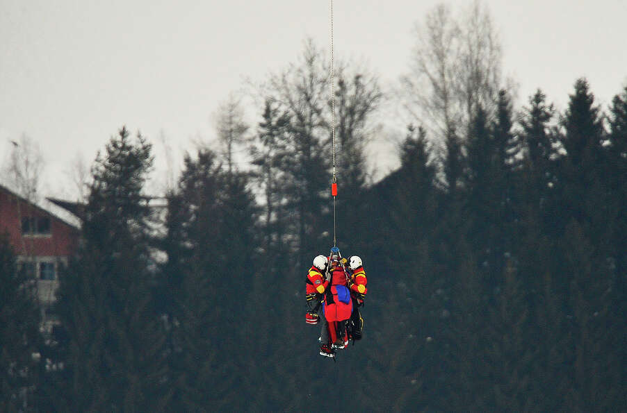 USA Lindsey Vonn is transported by helicopter after a fall during the women's Super-G event of the 2