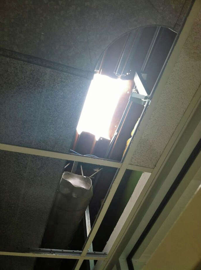 A Hole Left In The Roof At Fairfield Ludlowe High School After Recent Storm