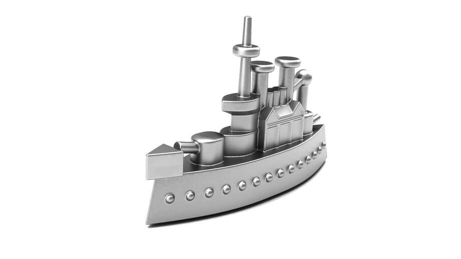 The battleship die-cast metal piece was also used in another Parker Brothers game at the time called Conflict. The battleship showcases the importance of ocean travel and security before travel by air became an every day (and affordable) occurrence.Iron (1935) Photo: Hasbro