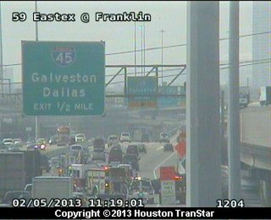 Traffic was snarled on the southbound Eastex Freeway near  downtown after a crash late Tuesday mornng. Photo: Houston Transtar