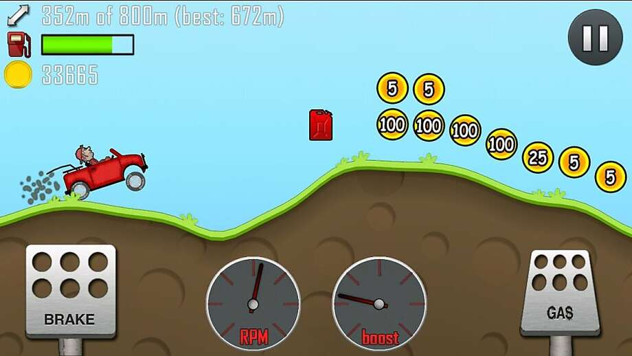 """Hill Climb Racing,"" developed by Fingersoft, features simple gas and brake controls with a variety of vehicles, environments and upgrades. The possibilities are limitless. Photo: Courtesy Fingersoft"