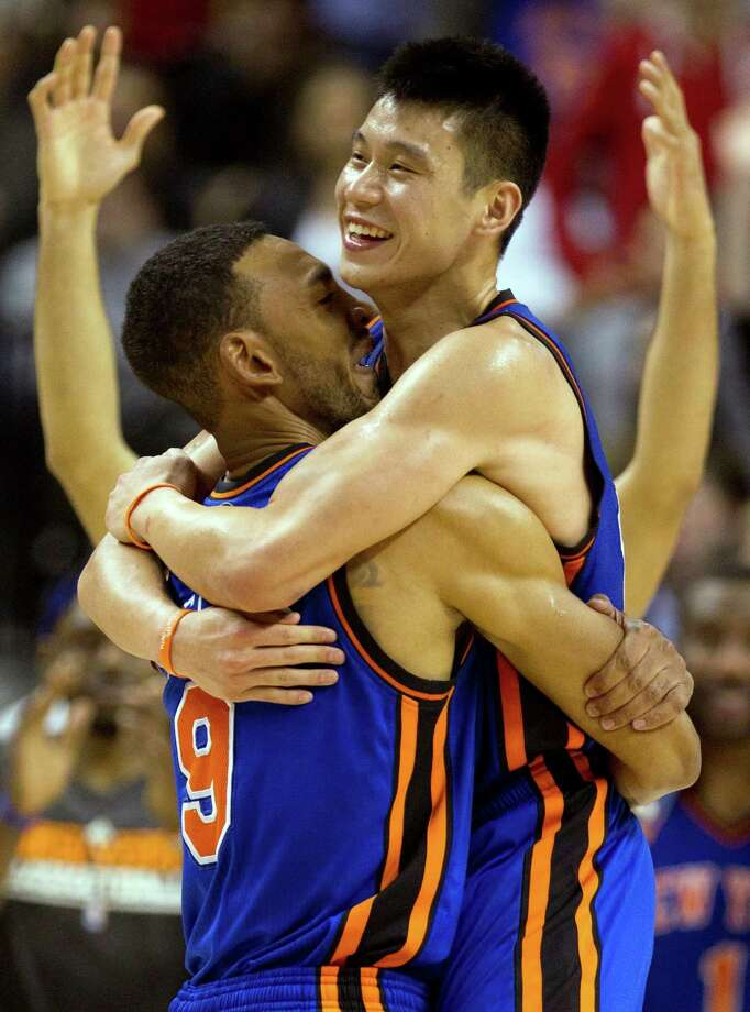 New York Knicks guard Jeremy Lin, right, celebrates with teammate Jared Jeffries after his game-winning 3-pointer. Photo: Frank Gunn, Associated Press / The Canadian Press