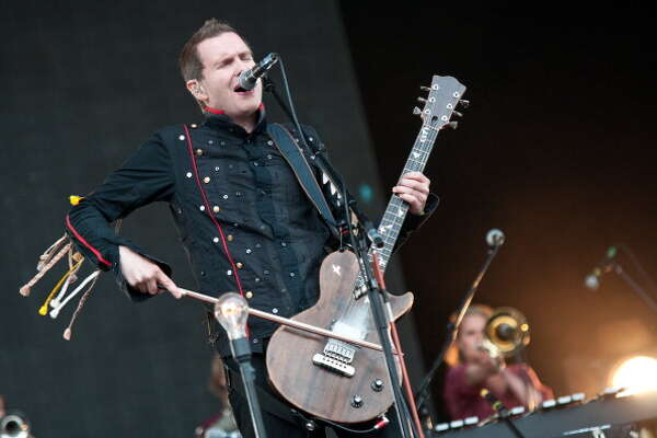 NEWPORT, UNITED KINGDOM - SEPTEMBER 09: Jonsi Birgisson of Sigur Ros performs on stage at Bestival at Robin Hill Country Park on September 9, 2012 in Newport, United Kingdom.