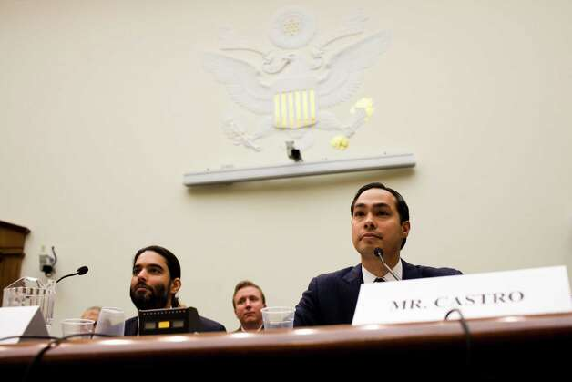 Julian Castro, Mayor of San Antonio, Texas, and the grandson of a Mexican immigrant, testifies before the House Judiciary Committee on Capitol Hill in Washington, Feb. 5, 2013. The committee held its first hearing on immigration reform Tuesday as the Republican-controlled House moves to stake out a position on the issue. Puneet Arora of Immigration Voice is at left. Photo: CHRISTOPHER GREGORY, New York Times / NYTNS