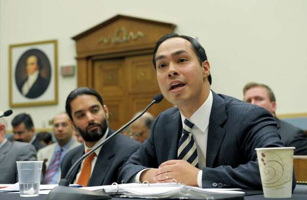 San Antonio,, Texas Mayor Julian Castro, right, testifies on Capitol Hill in Washington, Tuesday, Feb. 5, 2013, before the House Judiciary Committee hearing on America's Immigration System: Opportunities for Legal Immigration and Enforcement of Laws against Illegal Immigration.  (AP Photo/Susan Walsh) Photo: Susan Walsh, Associated Press / AP