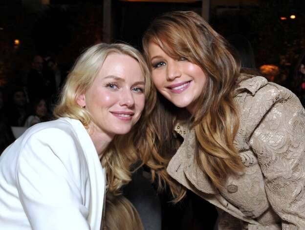 Naomi Watts, left, and Jennifer Lawrence attend The Hollywood Reporter Nominees' Night at Spago on Monday, Feb. 4, 2013, in Beverly Hills, Calif. (Photo by John Shearer/Invision for The Hollywood Reporter/AP Images) Photo: John Shearer, Associated Press / Invision