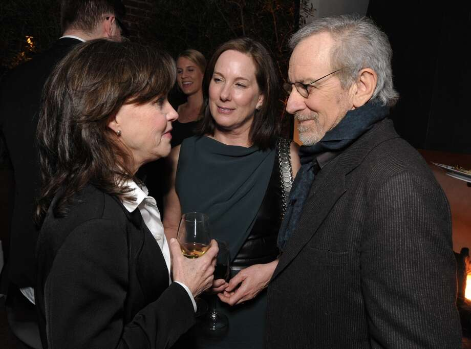 From left, Sally Field, Kathleen Kenedy and Steven Spielberg attend The Hollywood Reporter Nominees' Night at Spago on Monday, Feb. 4, 2013, in Beverly Hills, Calif. (Photo by John Shearer/Invision for The Hollywood Reporter/AP Images) Photo: John Shearer, Associated Press / Invision