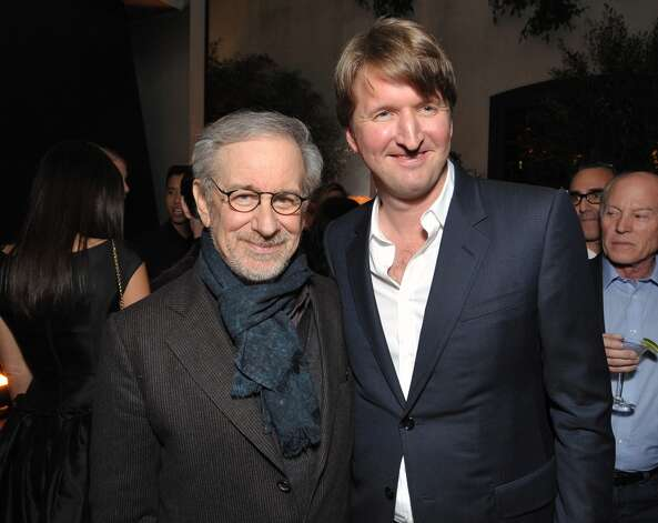 Steven Spielberg, left, and Tom Hooper attend The Hollywood Reporter Nominees' Night at Spago on Monday, Feb. 4, 2013, in Beverly Hills, Calif. (Photo by John Shearer/Invision for The Hollywood Reporter/AP Images) Photo: John Shearer, Associated Press / Invision