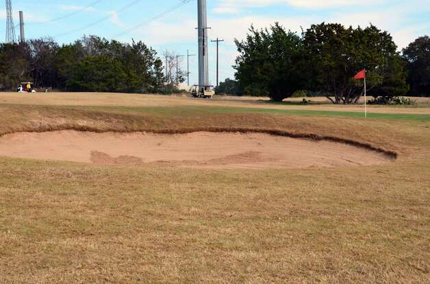 Sand on the left of the green on No. 12 at the Buckhorn in Comfort poses as a challenge on this par-3 hole. Photo: LeAnna Kosub