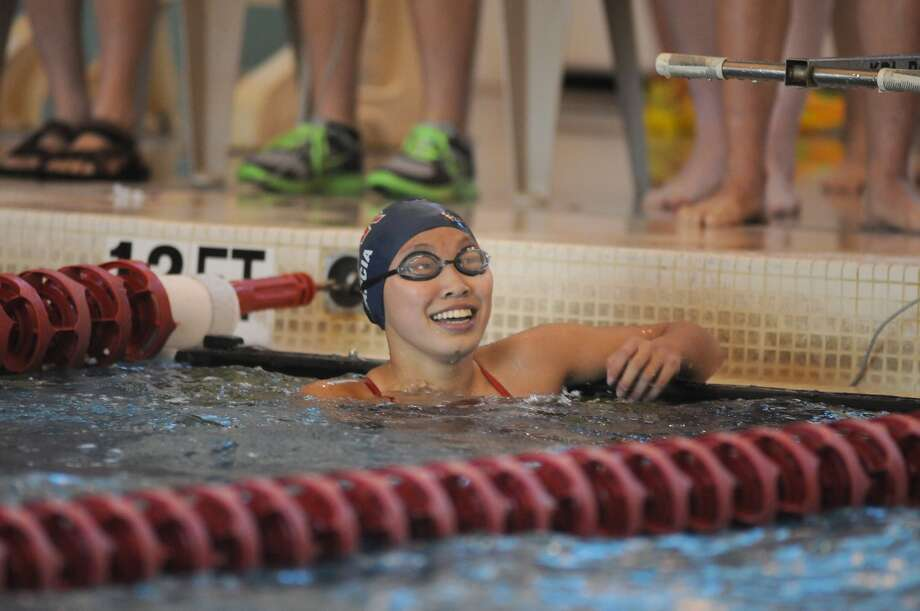 Lamar freshman Katie Garcia showed her quality in sprint and distance, taking crowns in both the 50- and 500-yard freestyle events at the District 20-5A Swimming and Diving Championships last week at Lamar. Photo: Jerry Baker, Freelance