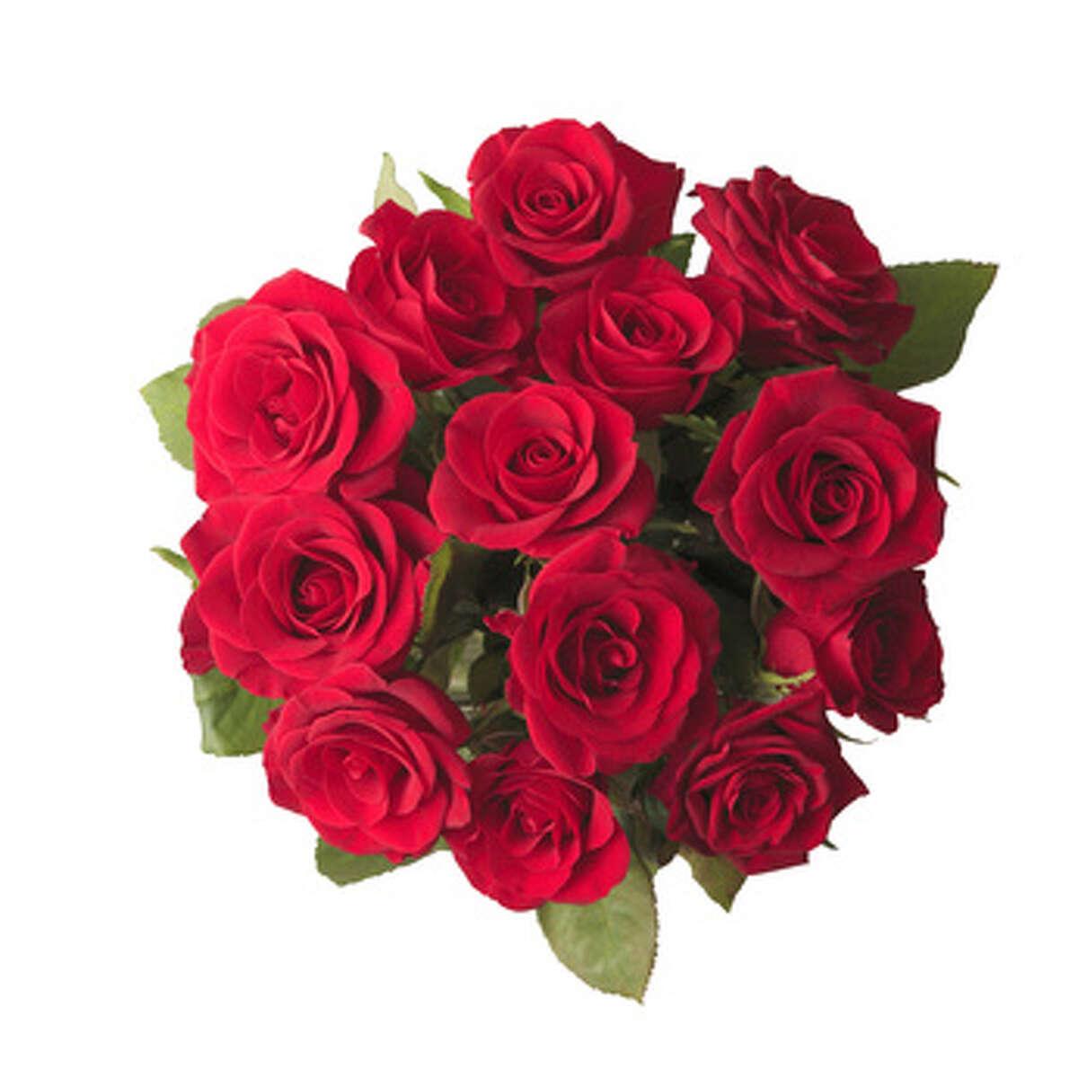 Dozen red roses: $97.22