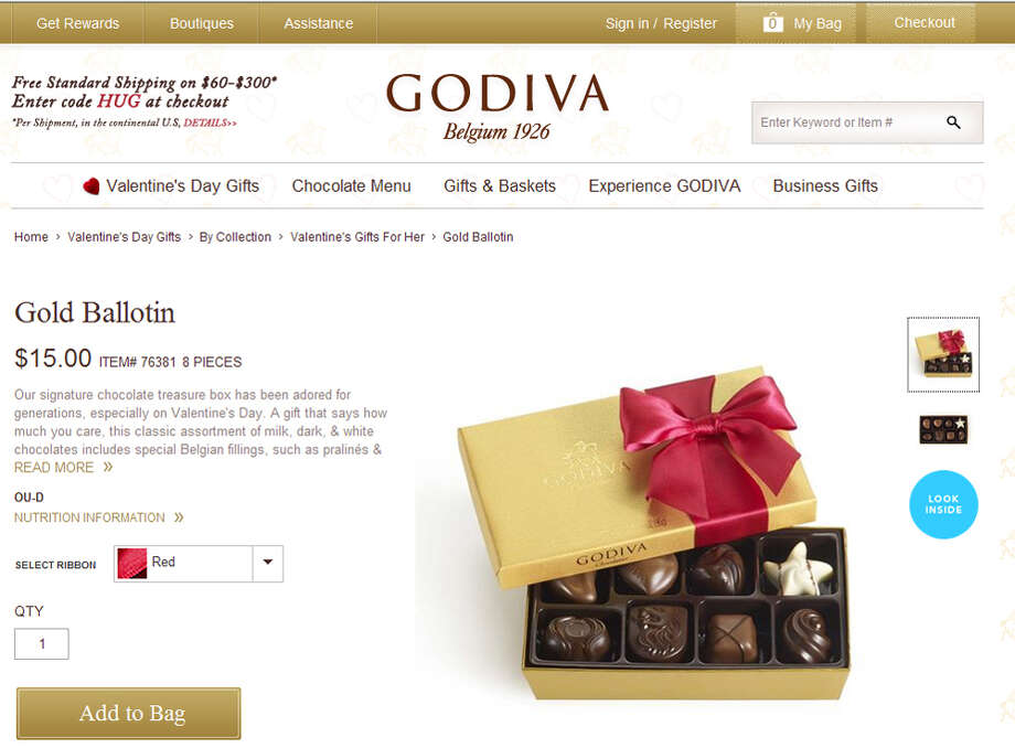 Godiva chocolates, heart-shaped box: $100, Godiva Chocolatier, up 5.3 percent Photo: .