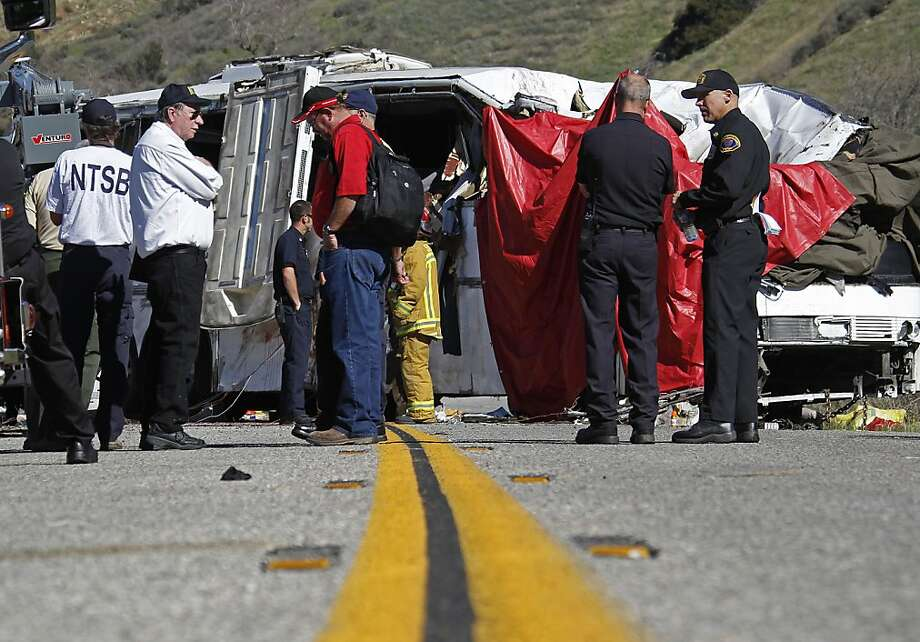 Seven died and dozens were injured when a tour bus crashed in the Southern California mountains. Photo: Reed Saxon, Associated Press