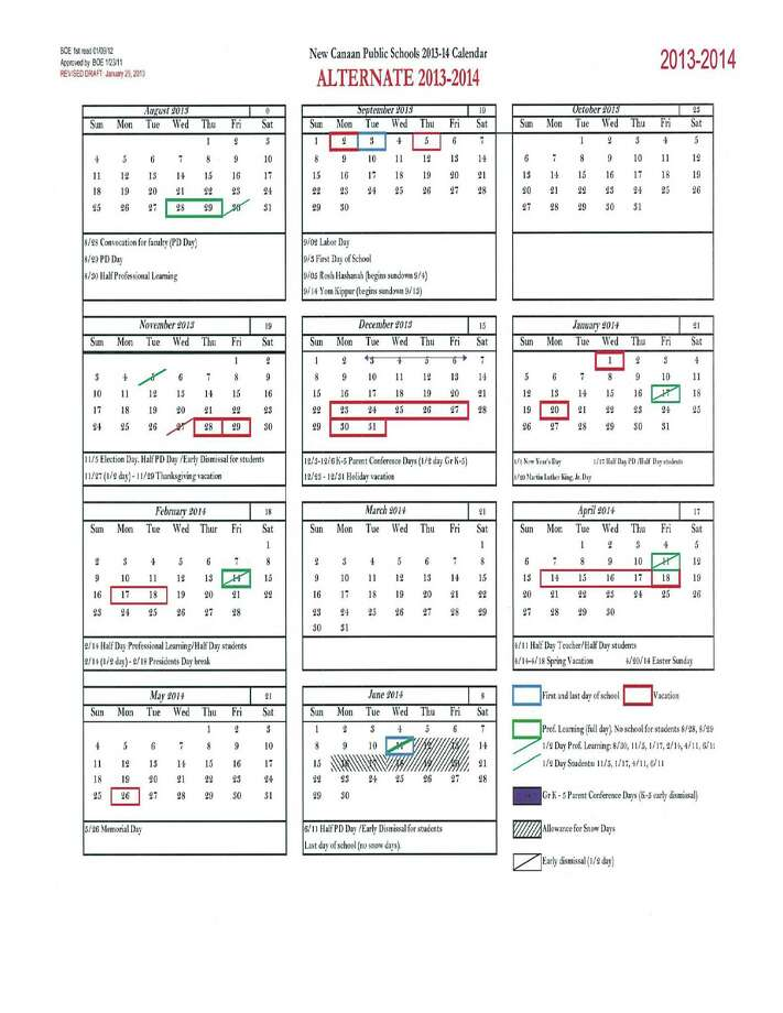 The Board of Education debated a new 2013-2014 school calendar at its meeting Monday night, proposed by Superintendent Mary Kolek. The new schedule would lengthen the summer break, eliminate part of the February break and make Columbus Day a school day. Photo: Contributed