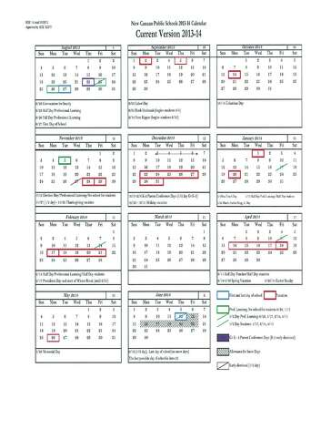 The Board of Education's current 2013-2014 schedule, which includes Columbus Day off and a full February break. Photo: Contributed