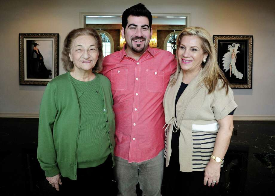 Kevin Naderi, chef-owner of Roost restaurant in Houston is introducing Sunday Sofreh to his restaurant, a monthly Persian dinner at which his mother and grandmother will cook. Pictured left to right Shamsi Gharagozlou (Naderi's maternal grandmother), Naderi, and mother Zoe Naderi. Photo: Debora Smail