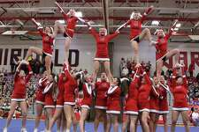 "The Greenwich High School cheerleading team, above, will be one of the squads included on MSG Varsity's ""The Cheering Life: 2013 Fairfield County Interscholastic Athletic Conference (FCIAC) Cheerleading Championships."" The 90-minute special will air Sunday, March 10 at 9 p.m. on Optimum TV channel 14. The show will highlight 15 Connecticut high school cheering squads competing for the all-around title - featuring interviews, full routine coverage and awards presentations. ""All the hours of practice and training have come down to this one event for these exceptional teams and it's an honor having MSG Varsity as a partner in bringing the 2013 FCIAC Championships into the homes of those in Fairfield County,"" said FCIAC President Dave Schulz. Other teams competing include Danbury High School, Stamford High School, Darien High School, Staples High School, Fairfield Ludlowe High School, Trinity Catholic High School, Trumbull High School, New Canaan High School, Warde High School, Norwalk High School, Westhill High School, Brien McMahon High School, Wilton High School and St. Joseph High School."