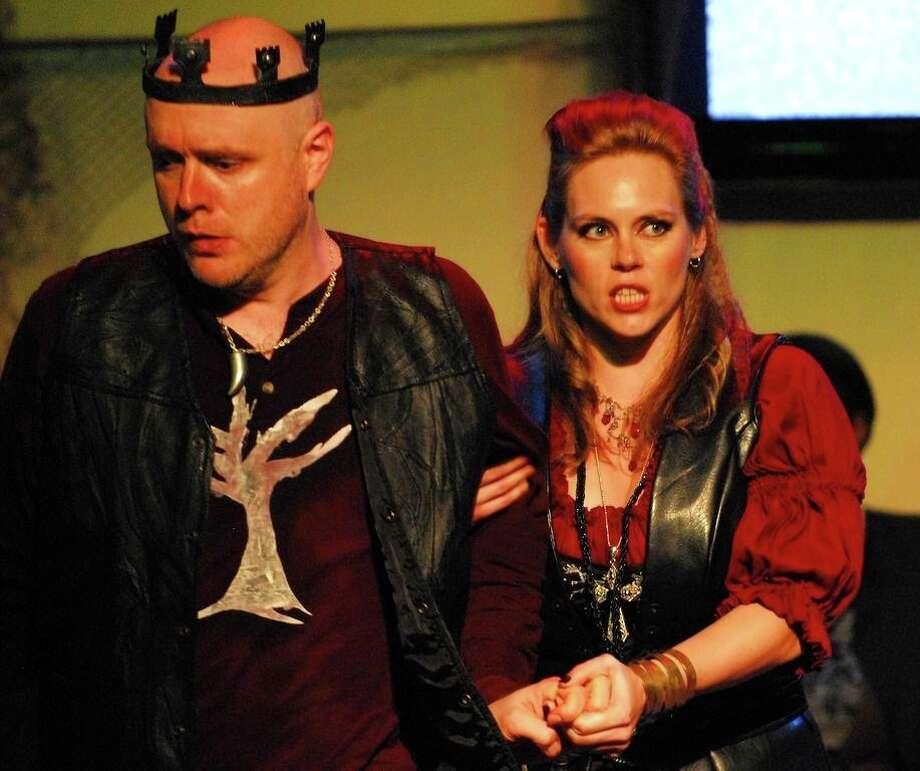 """Macbeth (Andrew Cummings) and Lady Macbeth (Emily Newton) plan their dirty deeds in Opera in the Heights' staging of Verdi's """"Macbeth."""" Photo: Gwen Turner Juarez"""
