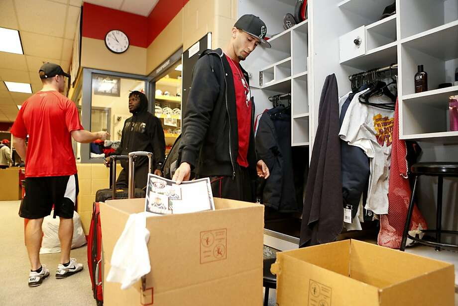 San Francisco 49ers' Colin Kaepernick packs up his locker at the training facility on Tuesday, February 5, 2013 in Santa Clara, Calif. Photo: Beck Diefenbach, Special To The Chronicle