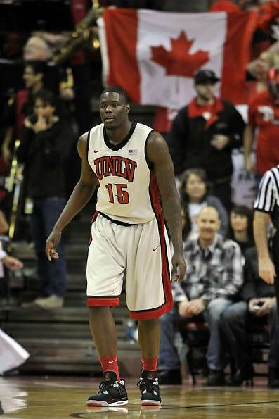 LAS VEGAS, NV - JANUARY 12: Anthony Bennett #15 of the UNLV Rebels posts up down low against the Air