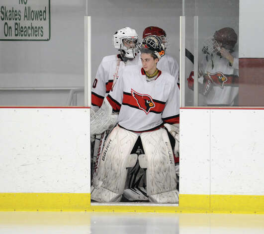 Greenwich goalie Bryan Archino leads his team onto the ice during the boys high school ice hockey game between St. Joseph High School and Greenwich High School at Hamill Rink in Byram, Tuesday night, Feb. 5, 2013. St. Joseph defeated Greenwich, 5-2. Photo: Bob Luckey / Greenwich Time