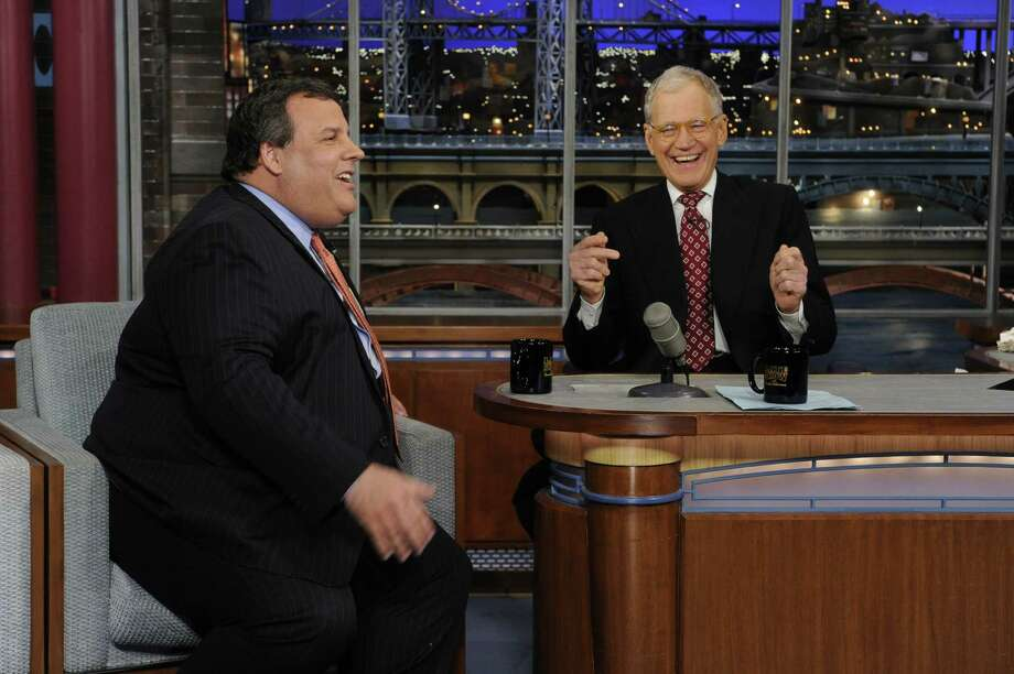 New Jersey Gov. Chris Christie lightheartedly discusses his weight with David Letterman. Photo: Jeffrey Neira, HONS / CBS Entertainment