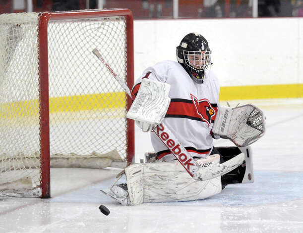Greenwich goalie Bryan Archino makes a stop during the boys high school ice hockey game between St. Joseph High School and Greenwich High School at Hamill Rink in Byram, Tuesday night, Feb. 5, 2013. St. Joseph defeated Greenwich, 5-2. Photo: Bob Luckey / Greenwich Time